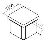 Koncovka nerezového madla 40 x 40 mm - rovná